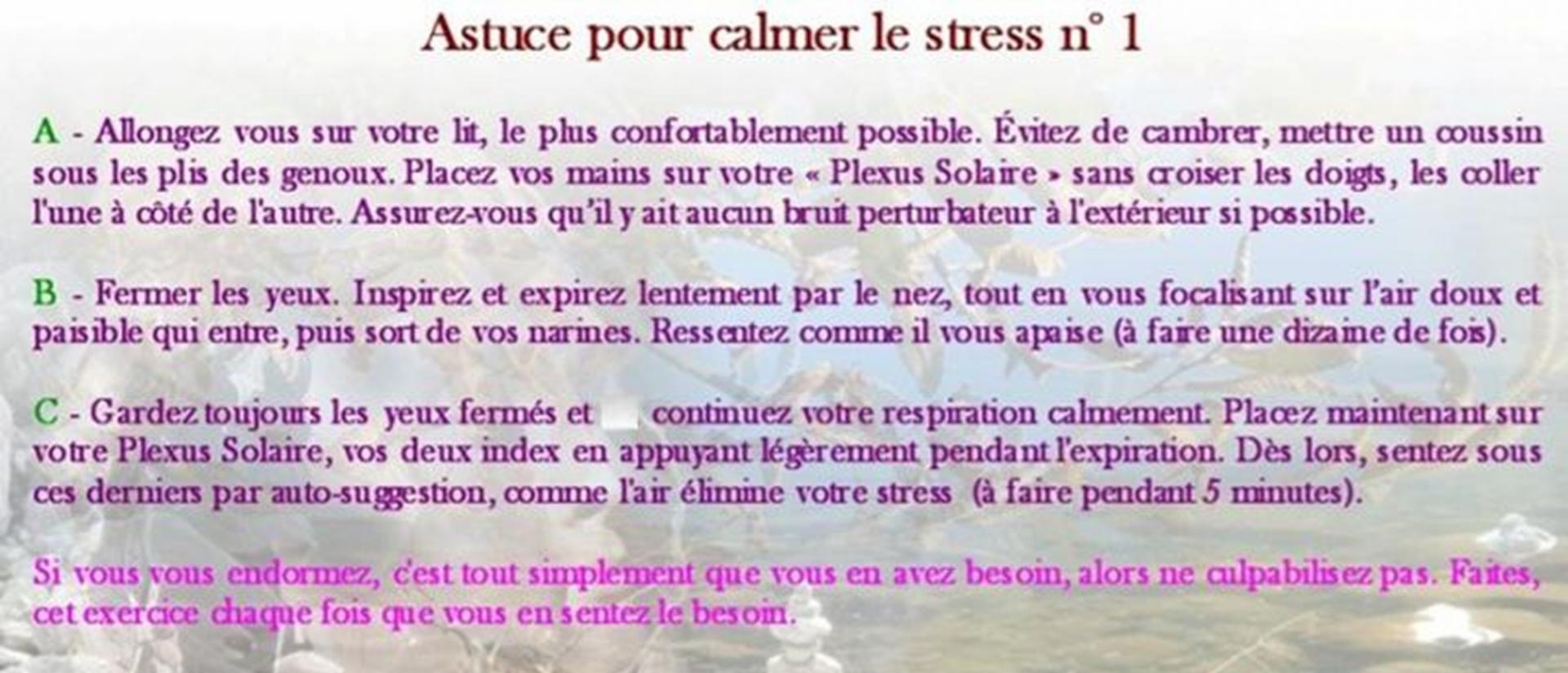 Astuce pour calmer le stress n 1